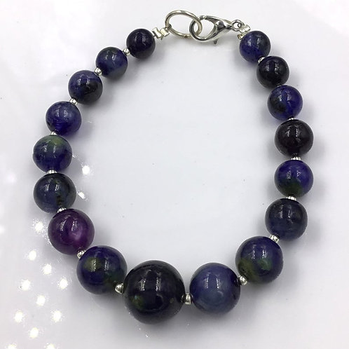 Blue Sapphire Glass Filled Treated Sapphire Ball Beads 105.30, Size =7 To 12 MM