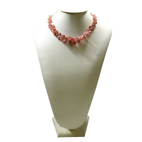 Strawberry - 16'' Indian Faceted Drops 1 Strand Gemstone Jewelry Beads Handmade