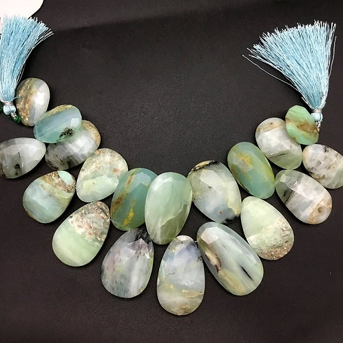 Peru Opal 8 '' Faceted Almond Shape 1 Strand Natural Gemstone Bead Necklace