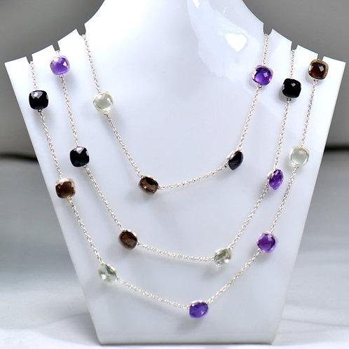 925 Silver Chain/Necklace 44 '' Semi Precious Multi ( Amethyst / Quartz / Spinal