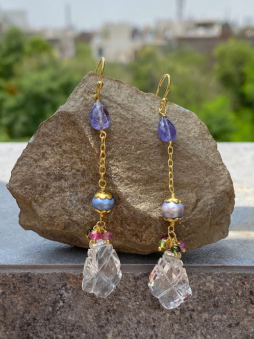 925 Silver TANZANITE PEAR multi tourmaline beads Earring crystal curved pearls