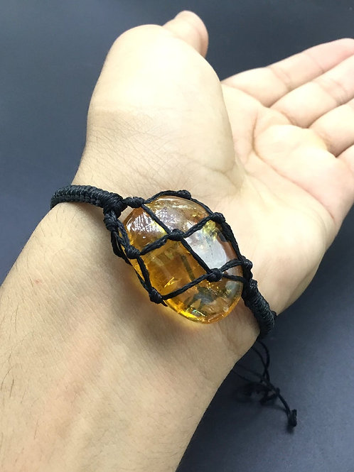 Citrine Gemstone Bracelet, Adjustable Bracelet, Bracelet Natural Citrine Tumble