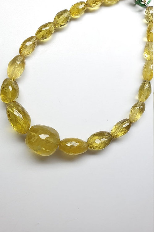 Heliodor Yellow Aqua faceted tumbles 90.70 carats size 6x8 to 9x16mm Aquamarine