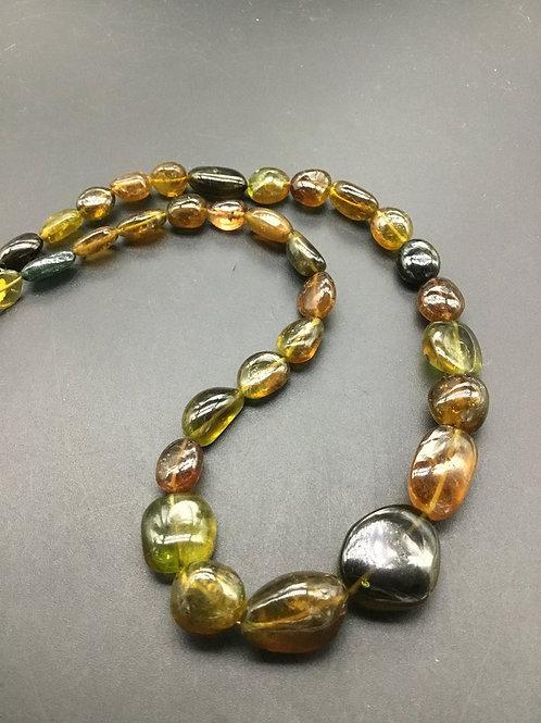 Multi Tourmaline Plain Tumble 16'' Lock Gemstone Necklace Tourmaline Necklace