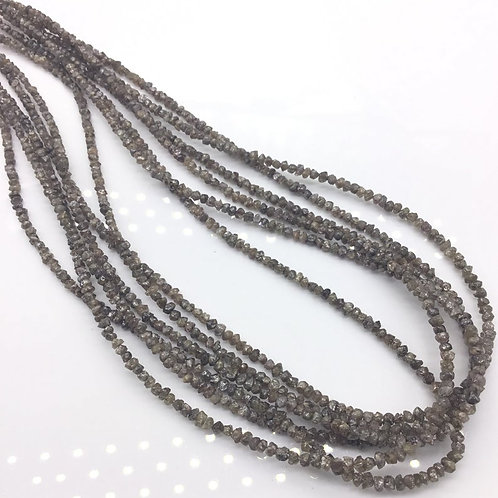 Brown Uncut Diamond Beads 16 Inches