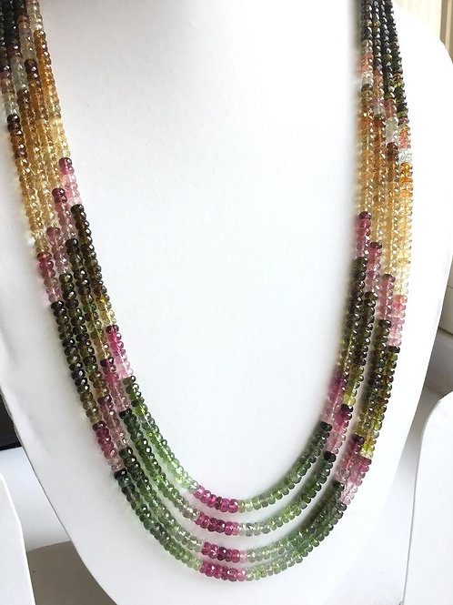 Multi Tourmaline Mixed Shaded faceted Beads Necklace Natural Gemstone
