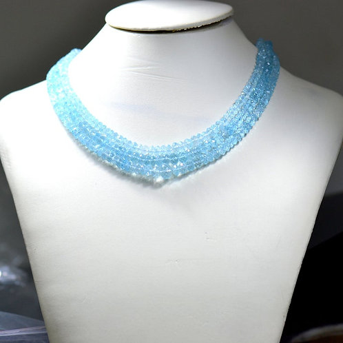 Blue Topaz - 16'' Faceted Beads 1 Strand Africa Gemstone  Jewelry Beads