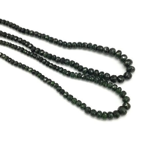 Green Tourmaline 16 '' Faceted Beads 100 % Gemstone 76 Ct Approx Gemstone Beads