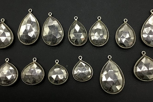 Pyrite + Silver Loose Gemstone 925 Sterling Silver Faceted Pear 5 PCS Natural