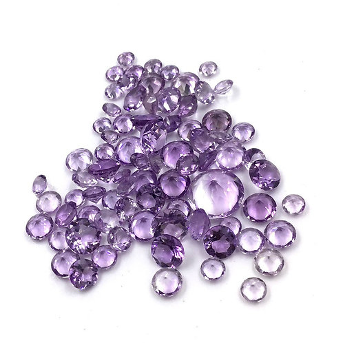 Pink Amethyst Faceted Fancy Round Loose Gemstone Natural