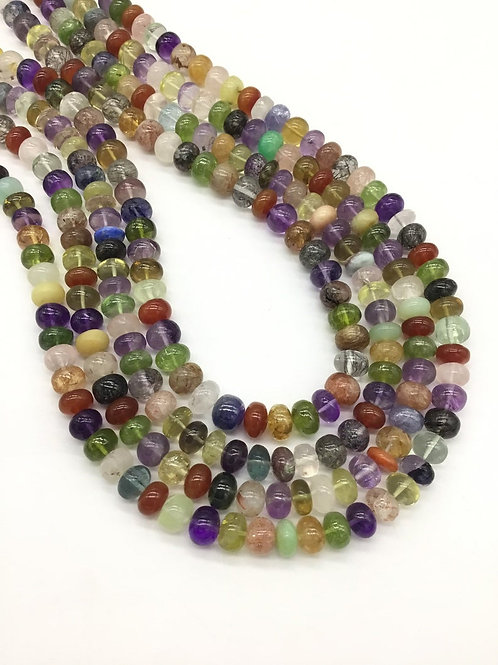 Semi Multi 16 '' Gemstones Plain Beads 1strand 250carats size-8to10MM Natural