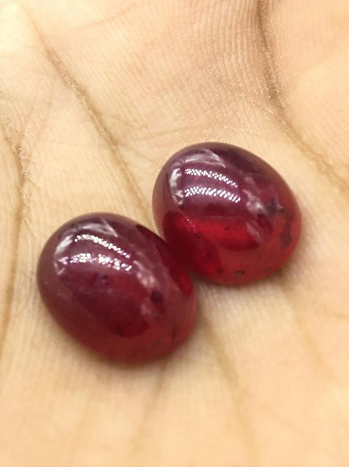Ruby Cabochon Gemstone Pair, ruby earrings/ rings jewelry making, natura