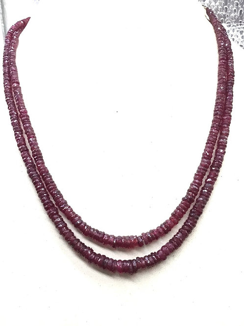 Ruby Faceted beads 14'' Top quality Natural Gemstone Necklace Set , jewellery