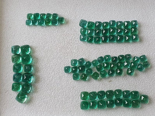 Emerald Sugarloaf Pairs 5mm & 6mm Size natural Zambian emerald Sugarloaf