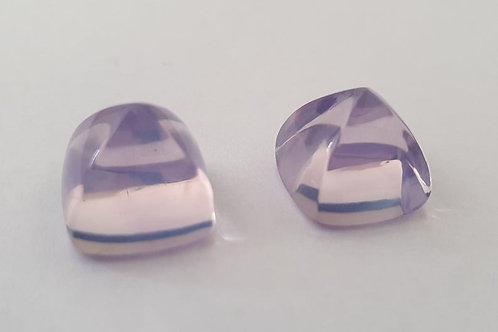 Lavender Quartz sugarloaf pair natural gemstone 13mm , 27 carats Pair Average