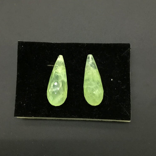 Prehnite 2 Pieces ( 1 Pair Set 1 Quantity ) Faceted Drops Half Drilled Good