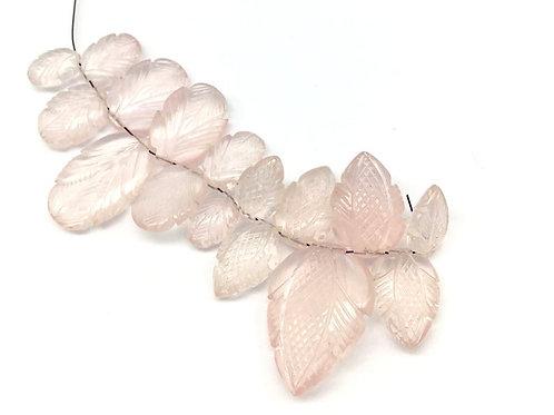 Rose Quartz Carving Leaf ( 17 Pieces ) Gemstone Handmade