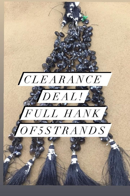 Closeout Sale price Smoky Quartz Checker Cushion 5 strands full hank wholesale