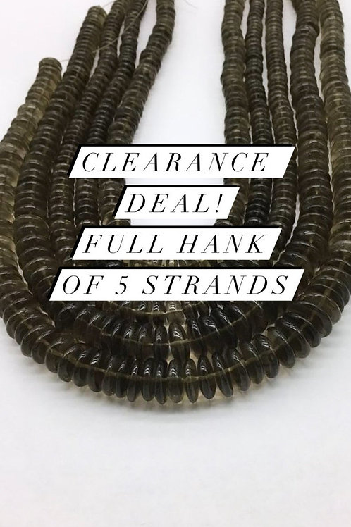 Closeout Sale price Smoky Quartz Plain Tyre 5 strands full hank wholesale