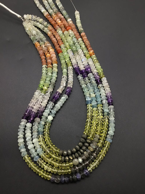 Mixed Gems Faceted Beads Natural Gemstone 15'' Necklace 1 Strand Amethyst, Aqua