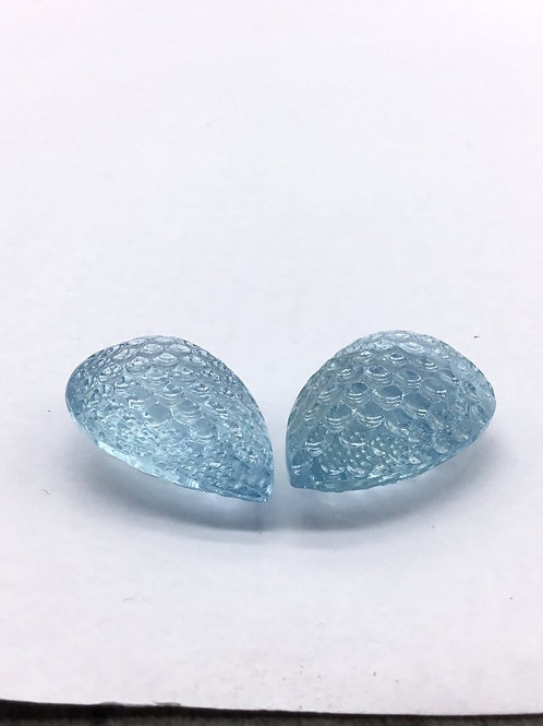 Blue Topaz Carved Tumble For Jewelry Making