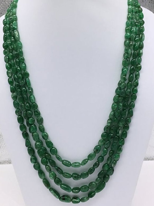 Emerald Tumbled Brazilian Necklace 100 % Natural Emerald Tumble Emerald Beads