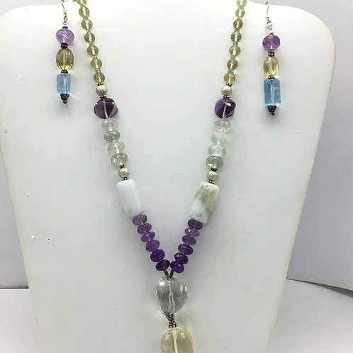 Mixed Gems Beaded Necklace with earrings and sterling silver locks