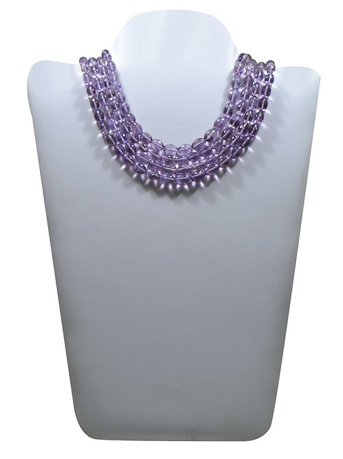 Pink Amethyst - 16'' Brazil carved faceted Olive 1 Strand Gemstone