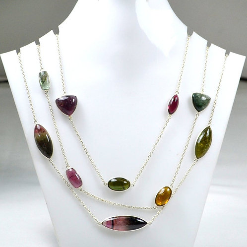 925 Sterling Silver beautiful Multi Tourmaline Silver Chain 42 '' fancy cut