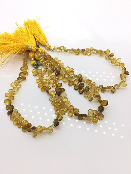 Tourmaline yellow / brown Pear / Almond Natural Gemstone Necklace 8''