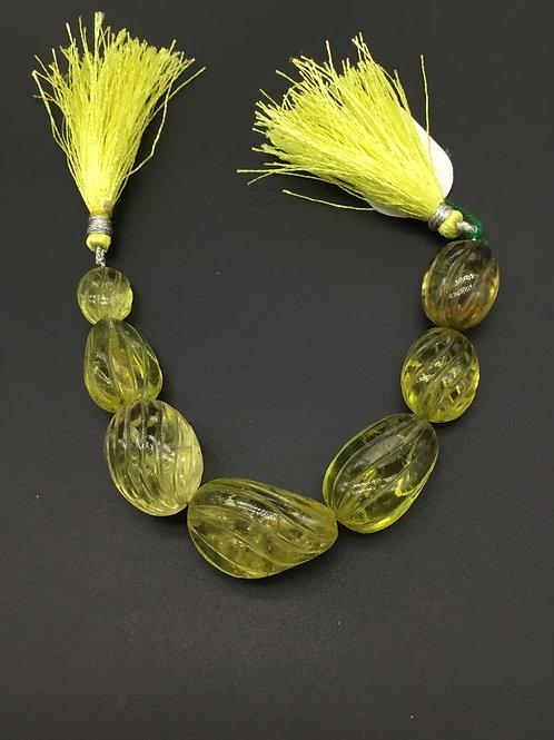 Lemon Quartz 6 '' Concave Fancy Carving 100 % Natural 1 Strand Gemstone Necklace