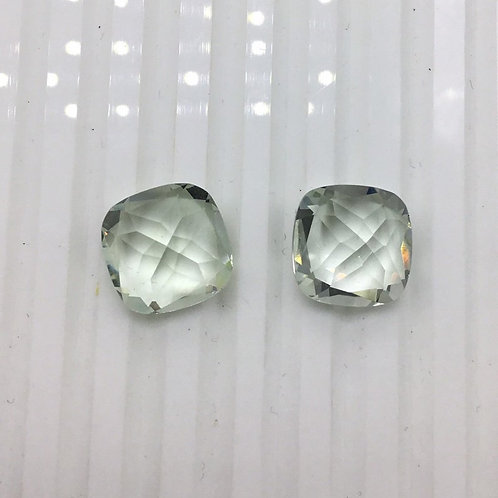 Green amethyst Cut stone Pair 2pieces 13.30carats size-12MM