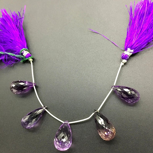 Amethyst + Ametrine 6 '' Faceted Drops Natural Gemstone 1 Strand Bead Necklace