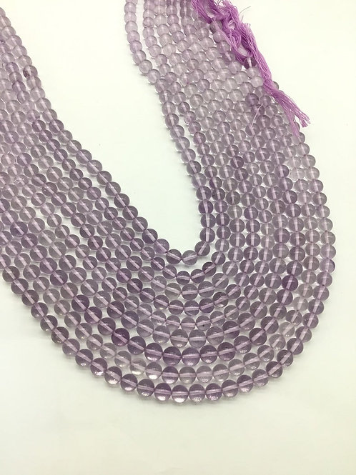 Pink amethyst smooth balls 1strand 118carats size-6to7MM Natural Gemstone Beads