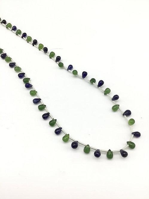 Blue Sapphire + Phrenite 16'' Plain Drops Gemstone Necklace 40.50 CT Top Shape