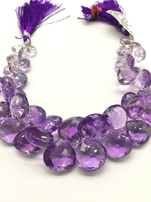 Pink Amethyst Pear / Heart Faceted Natural 8'' Gemstone Necklace 1 Strand