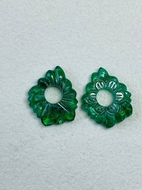 AAA Quality Emerald carving pair. Emerald pair carvings from Zambian mines