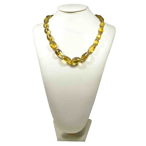 Olive Quartz 16 '' Brazil Faceted Tumble 1 Strand Natural Gemstone Necklace