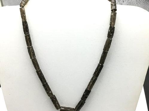 Smoky Quartz 16 '' Faceted Pencil Shape 1 Strand 137ct Natural Gemstone Necklace