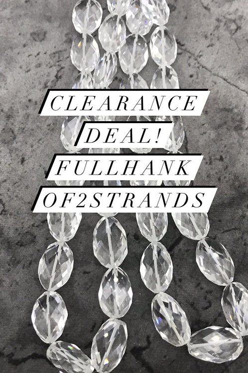 Closeout Sale White Crystal Faceted Ovals 2 strands full hank wholesale closeout