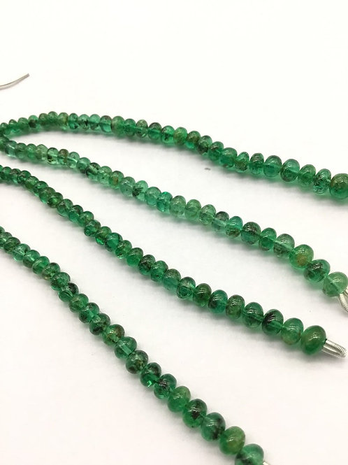 Emerald Earrings Tassel Jewelry Natural Gemstone Beads Zamia Mines 3inch length