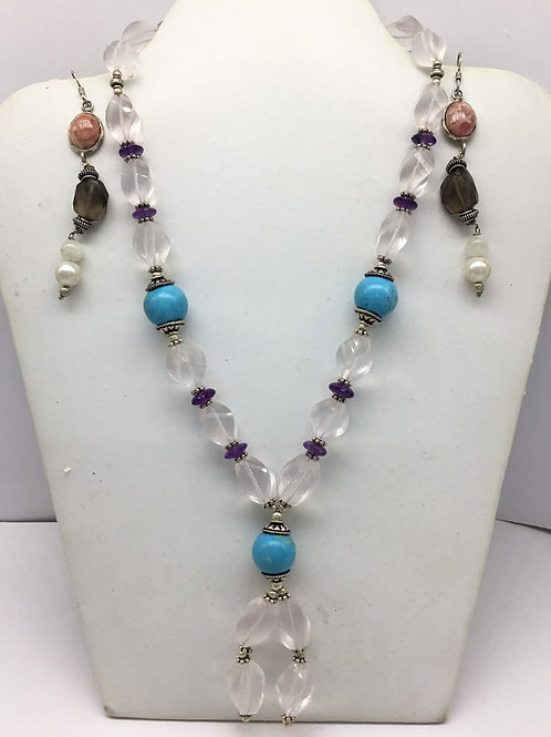 Mixed Gems Multi Gemstone Beaded Necklace with earrings and sterling silver
