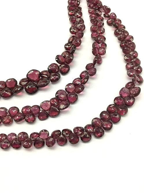 Garnet Heart Faceted 8'' Natural Gemstone Handmade Gemstone Necklace Gemstone