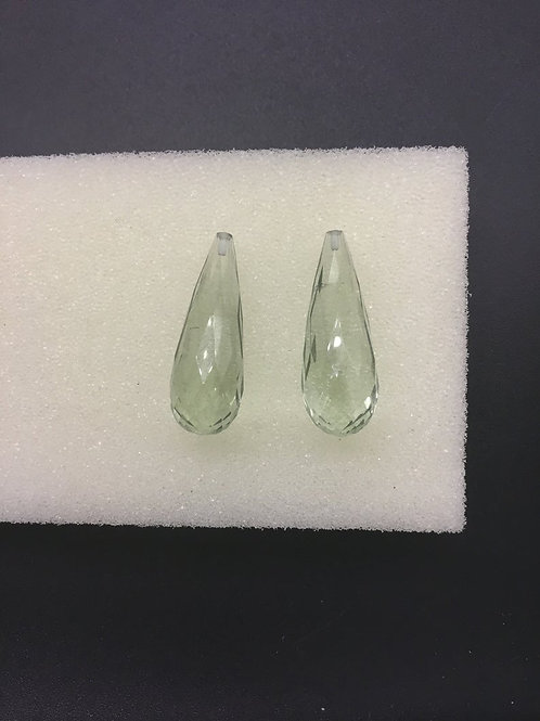 Green Amethyst Half Drilled Faceted Drops 100 % Natural Gemstone 2 Pieces Beads