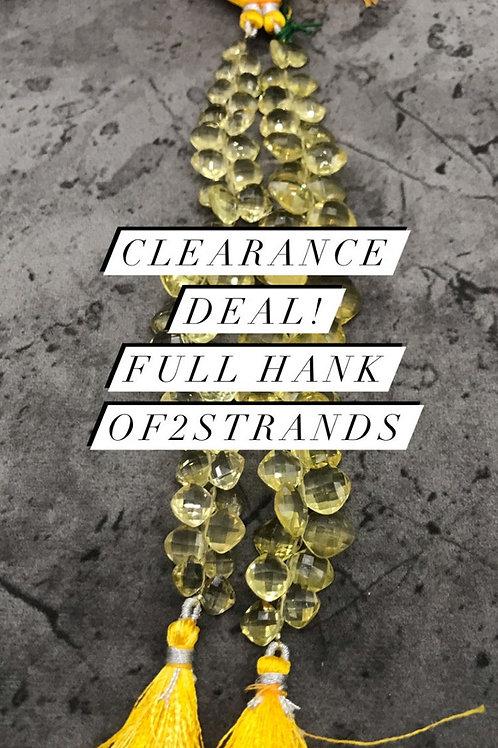 Closeout Sale Beer Quartz Faceted Cushion 2 strands full hank wholesale closeout