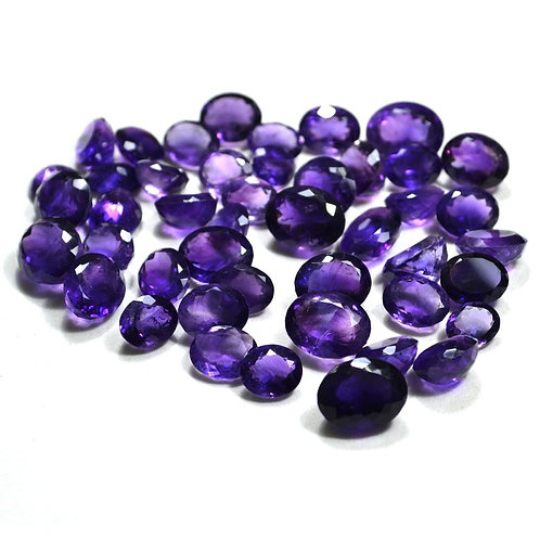Amethyst Faceted Oval 30 PCS. Lot.  Loose Gemstone Handmade Natural