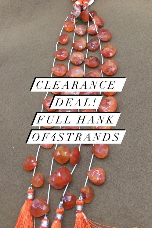 Closeout Sale price Carnelian Faceted Almond 4 strands full hank wholesale