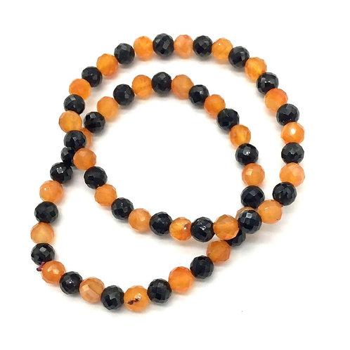 Gemstone Bracelet Multi Color Bracelet Carnelian + Black Spinal Bracelet , Beads