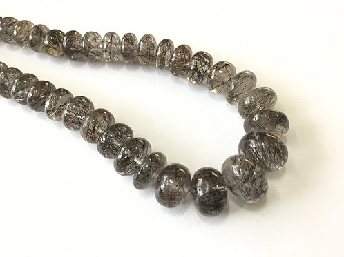 Black rutile smooth beads 1 strand 217 carats size-6 to 12 MM Natural Gemstone