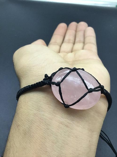 Rose Quartz Gemstone Bracelet, Adjustable Bracelet, Quartz Bracelet Bracelet